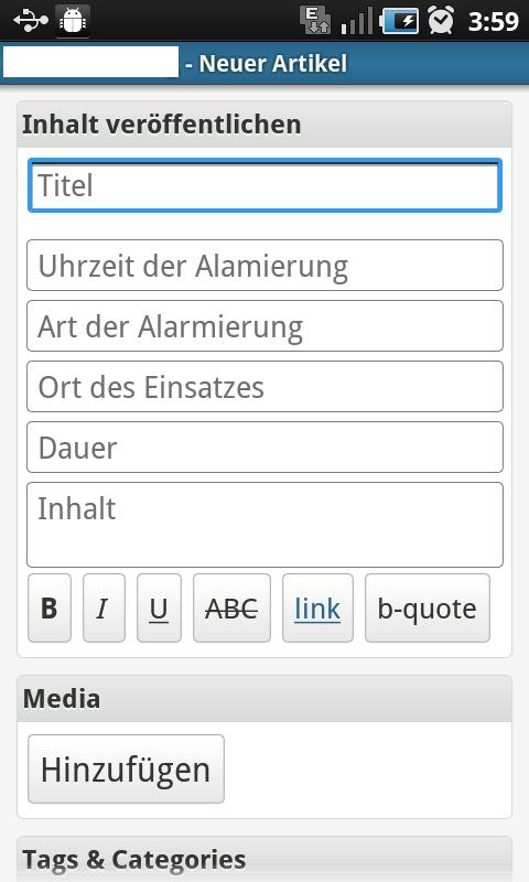 Screenshot der modifizierten App
